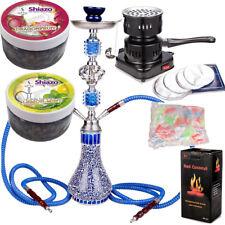 Blau Shisha mit Kohleanzünder Shishakohle Tinfoil Mundstücke 200g Dampfsteine