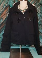 J.J. Winter XL Black Jacket Lightweight Coat Removable Hood Clip Snap Closure