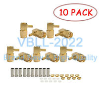 10X SMA Crimp Plug Male Right Angle For LMR100 RG316 RG174 Cable RF Connector