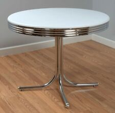 Retro Diner Table for Small Spaces Round Chrome Vintage Laminated Table Top NEW