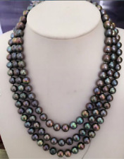 "triple strands AAA++ 8-9mm tahitian black pearl necklace 18"" 19"" 20""14k clasp"