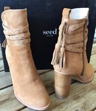 Seed Heritage Tan Suede Ankle boot Elise Tassel High Heel Boots Heels Shoes 36