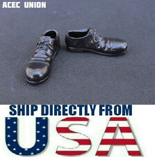 "1/6 Scale Cap Toe Oxford Shoes BLACK For 12"" Male Figure Hot Toys U.S.A. SELLER"