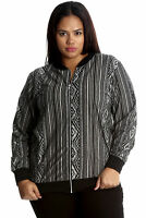 New Womens Jacket Bomber Plus Size Ladies Varsity Aztec Print Ribbed Nouvelle