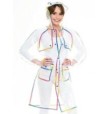TRANSPARENT MAC Raincoat Rainbow Edged S/M Hooded Festival