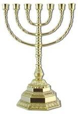 MESSING KERZENSTÄNDER Ebraico Kerzenhalter Jüdische menora GOLD 7 ARM Antik H34