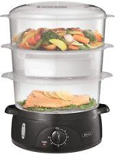 NEW! Bella - 9.5-Qt. 3-Tier Food Steamer - Black/Clear