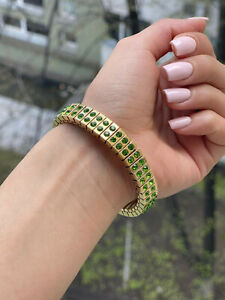 Peridot Bracelet gift for her Birthstone Jewelry gifts for women 24k Gold HMADE