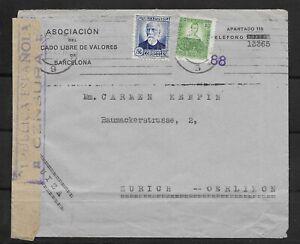 E6612 SPAIN ESPAÑA BARCELONA COVER TO ZURICH  MILITARY CENSURE URSS 1937