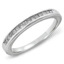 14K White Gold Finish Diamond Cut Wedding Anniversary Princess Band Ring Size 7