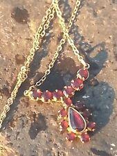 Kette Collier mit Granat Gold 333  8 kt  antik