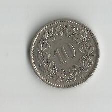 Svizzera Swiss HELVETIA 1970 10 RAPPEN Dieci CENT COIN