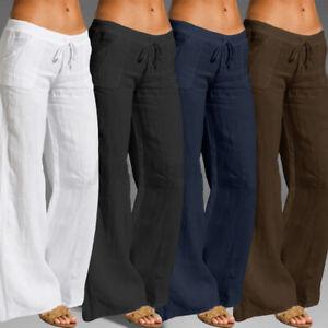 Lady Plus Size Cotton Linen Trousers Womens Elastic Waist Palazzo Wide Leg Pants
