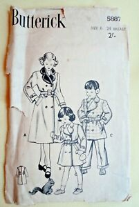 """Vintage 1940s/1950s Butterick Sewing Pattern. Childrens Winter Coat. 24"""" Chest."""