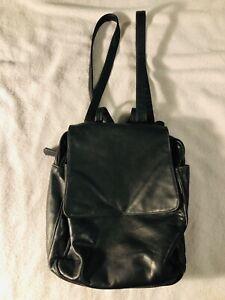 Tignanello Leather Small Backpack Black Multi Compartment Zipper Organizer