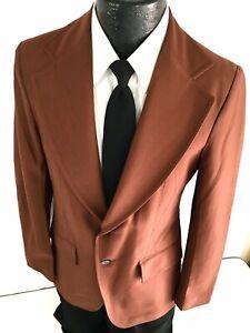 Vtg 70's Men BURNT SIENNA Sport Coat MOD Jacket DIAMOND Accent DISCO Blazer 38 R