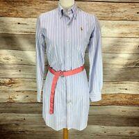 Ralph Lauren Womens Shirt Dress Blue Pink Stripe Long Sleeve Belted Size 6