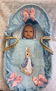 PETER RABBIT DOLL MOSES BASKET AND STUNNING SPANISH DOLL SUMMER SALE PRICE!