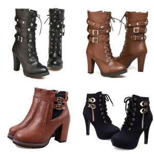 High Heel Women's Mid Calf Boot Military Buckle Motorcycle Ankle Short Rivet