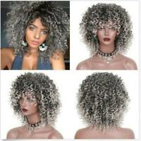 Short Afro Curly Mix Gray Hair Wig with Bangs Synthetic New Arrival Cheap Wigs