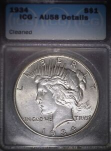 1934 Peace Silver Dollar. ICG AU58, Tougher Date, Good Solid Coin