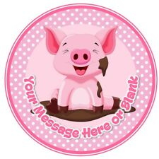 Pig in mud pink cute personalised round birthday cake topper icing