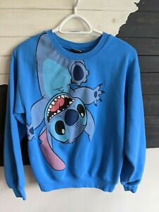 Disney Teen Girl Blue Lilo Stitch Round Crew Neck Graphic Sweatshirt Small 3-5