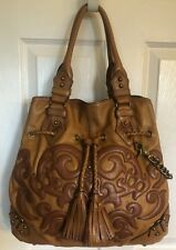 Lockheart Tote Perfect Condition Flowered Genuine Leather Chestnut Large