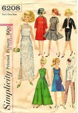 Simplicity # 6208 Sewing Pattern: Wardrobe For Teen Model Dolls Such As Barbie