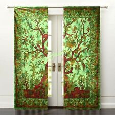 Chic Room Window Door Curtains Drape Tree of Life Tai Dai Solid Cotton Valances