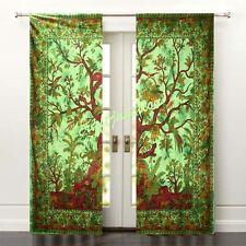 Chic Room Window Door Curtains Drape Tree of Life Tai Dai Solid Cotton Valances