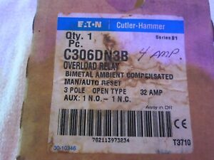 NEW Eaton Cutler Hammer C306DN3B overload relay 3 pole open 32 amps 1NO 1NC
