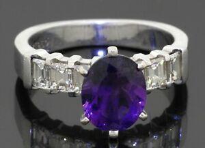 Heavy Platinum 4.80CTW VS Asscher cut diamond & Oval cut amethyst cocktail ring