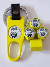 AUDI MINIONS YELLOW DUST VALVE CAPS AND SPANNER ALL MODELS BOXED A8 A5 A6 A3 TT
