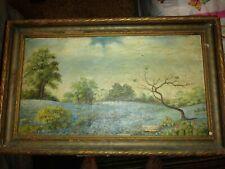 VTG FOLK ART AMERICANA OIL / CANVAS PAINTING 19th century LANDSCAPE signed BLAIR