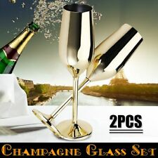 Shatterproof Stainless Champagne Glasses Brushed Gold Wedding Toasting 2Pcs/set
