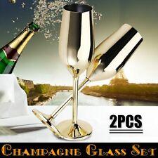 Shatterproof Stainless Champagne Glasses Brushed Gold Wedding Toasting 2Pcs/set