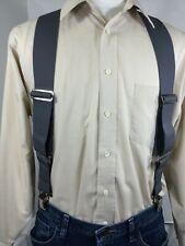 "New, Men's, Gray, Side Clip Suspenders / Braces, XL, 2"", Adj.  Made in USA"