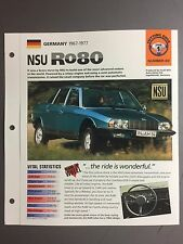 "1967 - 1977 NSU Ro80 IMP ""Hot Cars"" Spec Sheet Folder Brochure #1-22"