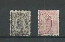 Nederland 14, 16   Wapens 1869   VFU/gebr CV 200 €  mooi stempel