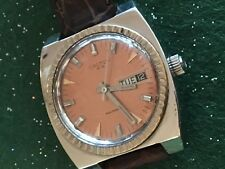 Men's Croton Watch, Copper Dial, Automatic, Day/Date, 17J, Brown Band, Works