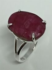 Natural Ruby and Silver Ring