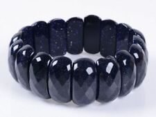 "Blue Sandstone Goldstone 25mm Faceted Gemstone Stretchable 8"" Bracelet"