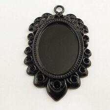 6pcs Black Tone Leaf Lace Cameo Setting inner size 25*18mm Tray Pendant 37818