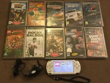 SLIM SONY PSP 2003 WHITE HANDHELD CONSOLE +10 GAMES BUNDLE GT GTA N4S MOH ROCKY