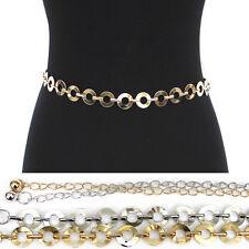 Bling Women Western Fashion Long Full Metal Chain Hip Waist Stretch Circle Belt