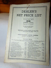 OEM HARLEY DAVIDSON 1938 DEALER'S ACCESSORY PRICES HIGH QUALITY copy RARE