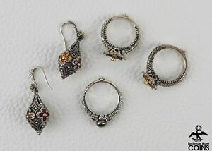 x4: Barbara Bixby Art Deco 18K Yellow-Gold & .925 Silver Floral Rings Earrings