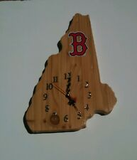MLB Boston Red Sox New Hampshire shaped wood quartz wall clock with team logo