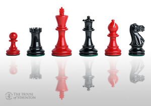 """The Grandmaster Regal Chess Pieces - 4.0"""" King - Black & Red Lacquered"""